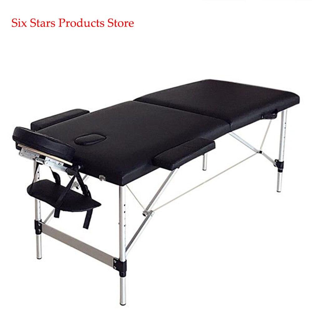186cm*60cm*63cm Beauty Bed 2 Sections Folding Portable SPA Bodybuilding Massage Table Black Beauty Table Bed Beauty Salon