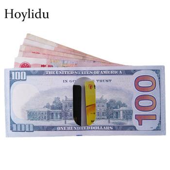 Kreatywny elegancki pieniądze klip portfel mężczyźni na pieniądze i karty waluty notatki wzór dolar Euro funt na płótnie pieniądze klipy Unisex torebka tanie i dobre opinie Hoylidu PŁÓTNO CN (pochodzenie) Canvas Stałe 8 5cm 19 5cm 5643 Currency Notes Pattern Short Men Women Soft Open Note Compartment*1 Card Holder*2