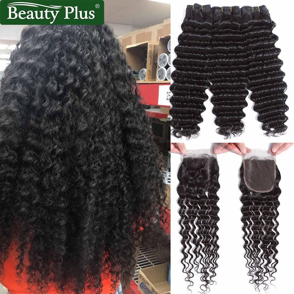 Losse Diepe Golf Haar Bundels met Sluiting Remy Human Hair Weave Bundels met Sluiting Peruaanse 3 Bundels met Sluiting Beauty plus