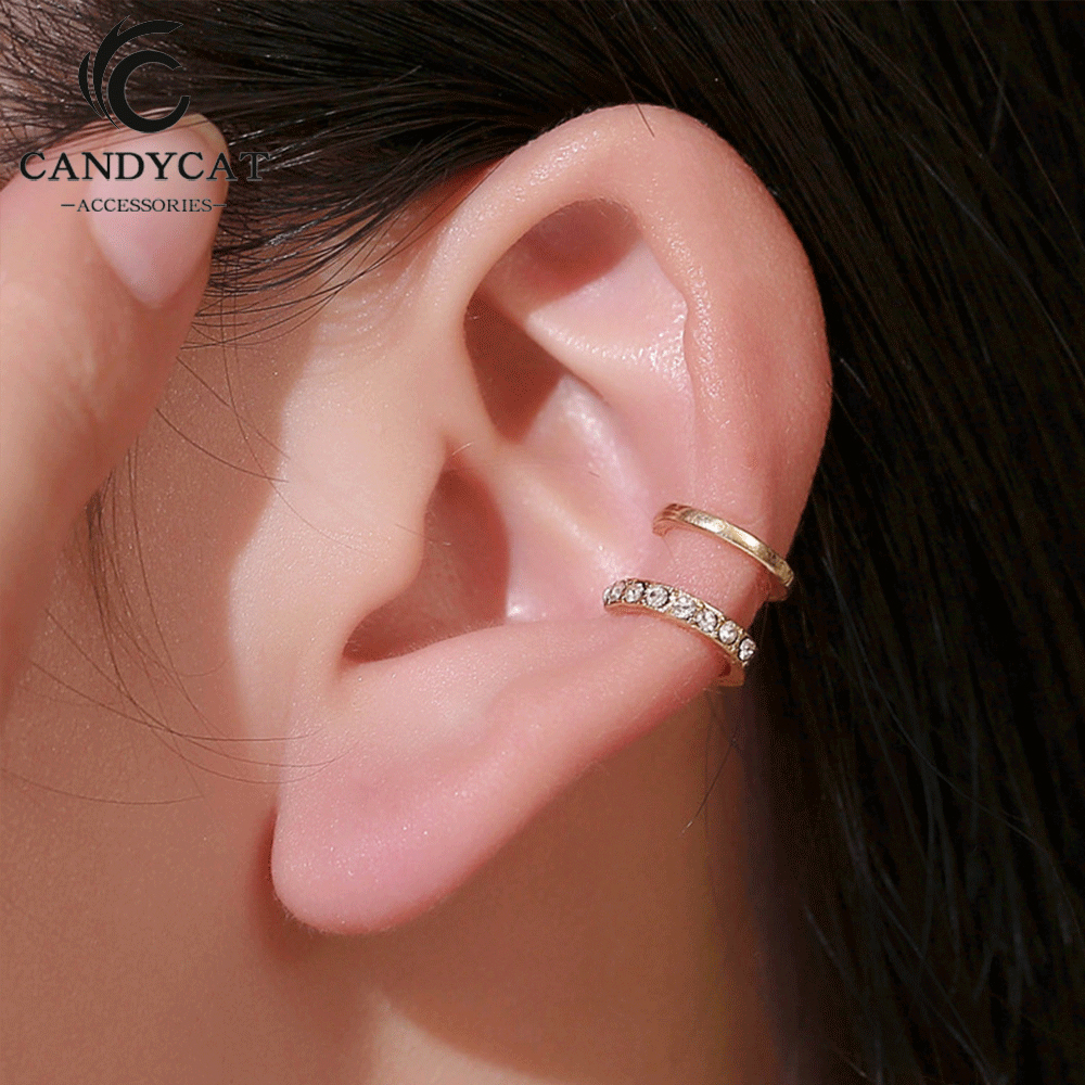 Vintage Punk Crystal Geometry Ear Clip Cuff Wrap Earrings For Women Non Pierced Clip On Silver Color Women Earrings Jewelry(China)