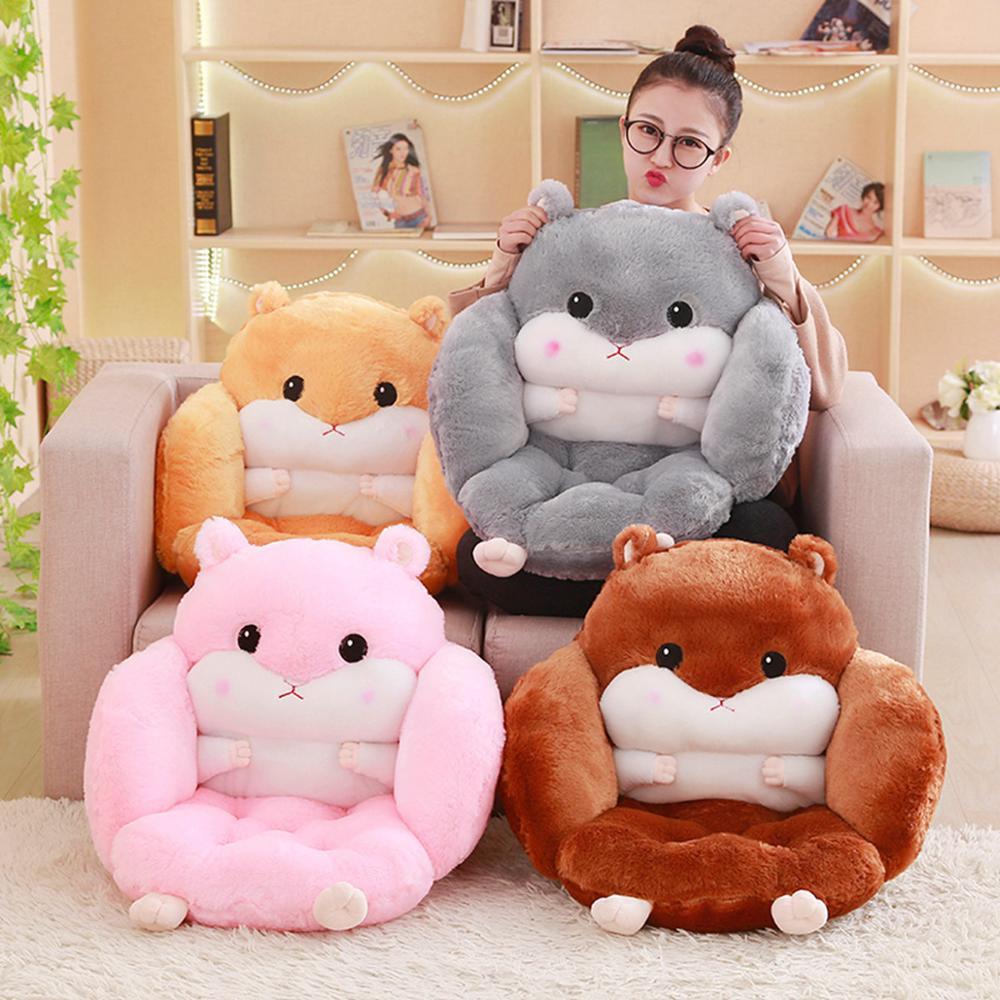 Cartoon Cute Hamster Seat Cushion Throw Pillows PP Cotton Home Decor Chair Cushion Kawaii Plush Toys For Kids Christmas Gifts