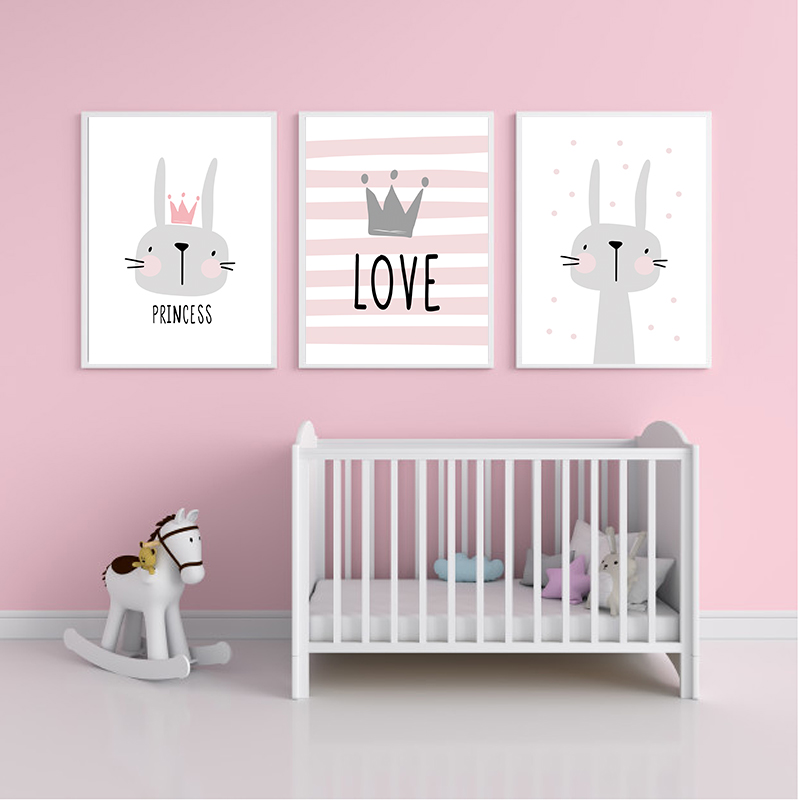 Pink Cartoon Nursery Girl Wall Picture Poster Print Rabbit Crown Baby Room Modern Canvas Painting Kids Children Wall Art Mural (2)