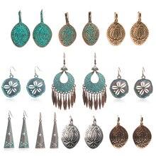 Exaggerated green metal earrings women round water drops flower tassel geometry long dangle drop girls bohemian jewelry
