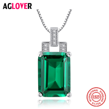 AGLOVER 925 Sterling Silver Necklace Luxury Green Zircon Square Pendant Necklace Best Gift For Woman/Wife Christmas Jewelry 2019