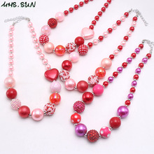MHS.SUN Valentine's Day Gift Girls Kids Chunky Heart Beads Necklace Pink/Red Bubblegum Necklace Child Party Jewelry 1Pcs