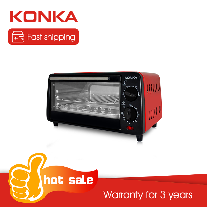 KONKA Household Mini Electric Oven Independent Temperature Controlled Lighting Stove Light Multifunctional Baking Red