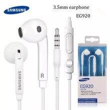 Samsung fone de ouvido original 3.5mm, fone de ouvido eg920, headset com graves e microfone/volume para galaxy a70 a50 note borda com caixa 8 9 s6 s7