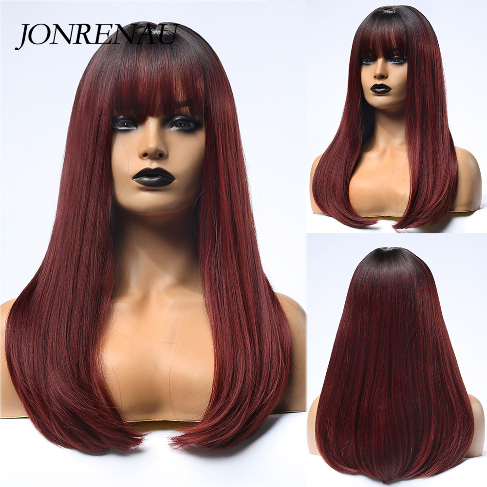 JONRENAU Long Silky Straight Hair Synthetic Ombre Black to Wine Red Wigs with Bangs for White/Black Women