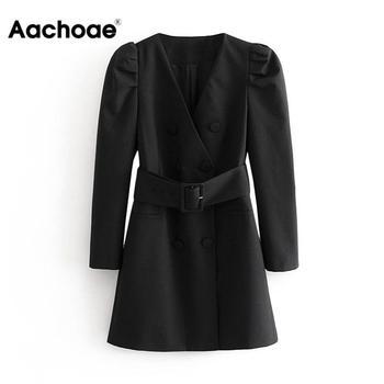 Frauen Mode Puff Langarm Schwarz Mini Kleid Herbst V-ausschnitt Bandage High Street Dame Kleider EINE Linie Chic Mode ropa Mujer