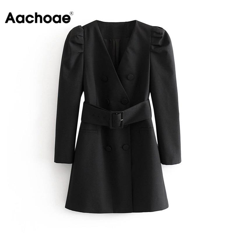 Women Fashion Puff Long Sleeve Black Mini Dress Autumn V Neck Bandage High Street Lady Dresses A Line Chic Fashion Ropa Mujer