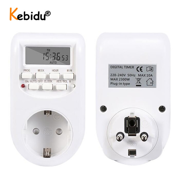 Spina di UE di Smart Digital Timer Presa di Risparmio Energetico Interruttore di Alimentazione 230V AC Regolabile Impostazione Programmabile di Orologio/On /Off Tempo