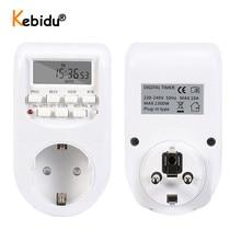 Ue plug inteligente digital temporizador tomada interruptor de poupança energia 230 v ac ajustável ajuste programável de relógio/ligar/desligar tempo