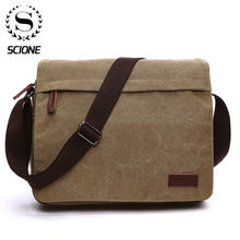 Scione Mode Effen Canvas Messenger Satchel Tassen Gesp Ongedwongen Draagbare Schoudertas Koreaanse Trend Eenvoudige Pack Voor Mannen Vrouwen(China)