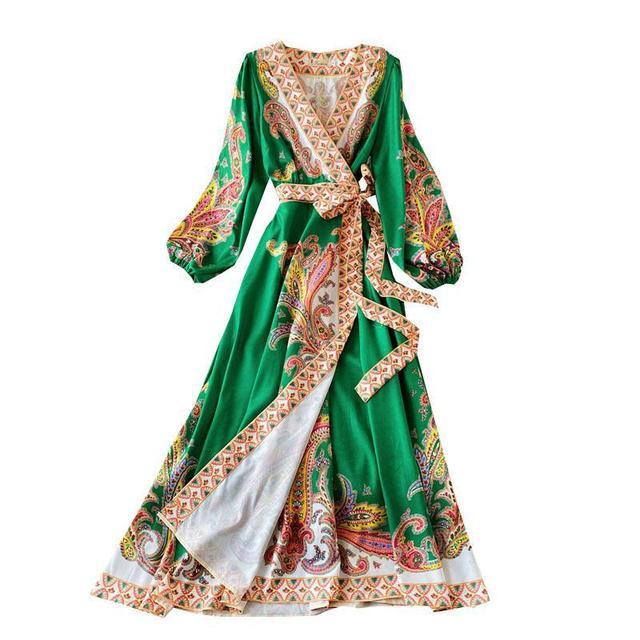 Elegant Dress Court Style Retro Fashion Outwear Printing Bubble Sleeve Temperament Fashion Dress Women V-neck Hit Color Vestidos 5