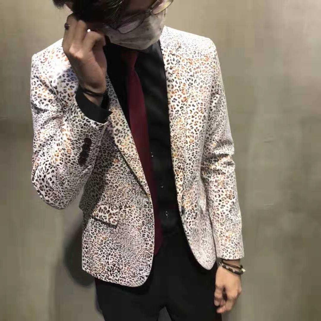 Lente Luipaard Enkele Koreaanse Slim Fit Night Kapsel Divisie Casual Bloem Mode Man Pak Blazer Masculino