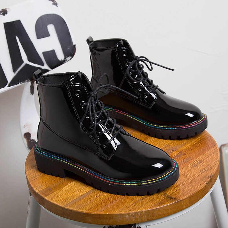 Yarım çizmeler kadınlar için ayakkabı kadın Lace Up platformu siyah Patent deri çizmeler kadın kış sıcak peluş kadın botları sokak ayakkabı