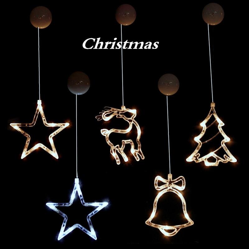 1PC/3PC LED Decorative Christmas Lights String DIY New Year's Day Holiday Light Deer / Bell / Stars / Tree Window Sucker Glass
