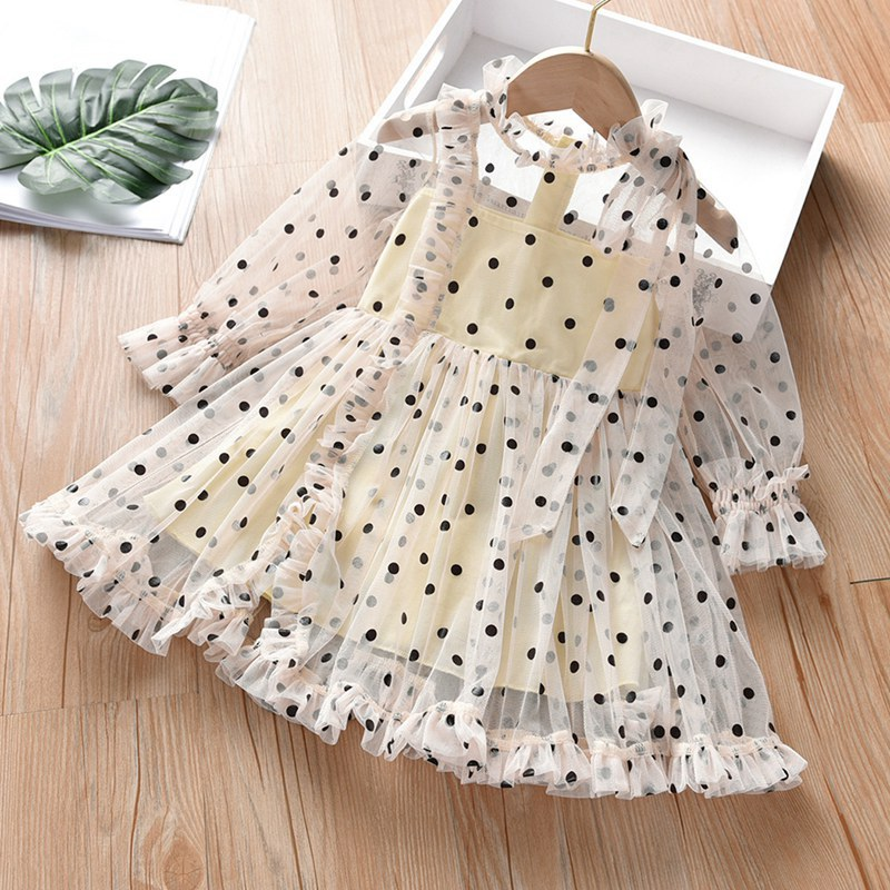 MUABABY Girls Elegant Dress Ruffles Dots Princess Party Gown Children Long Sleeve Casual Clothes Baby Kids Beach Summer Dresses