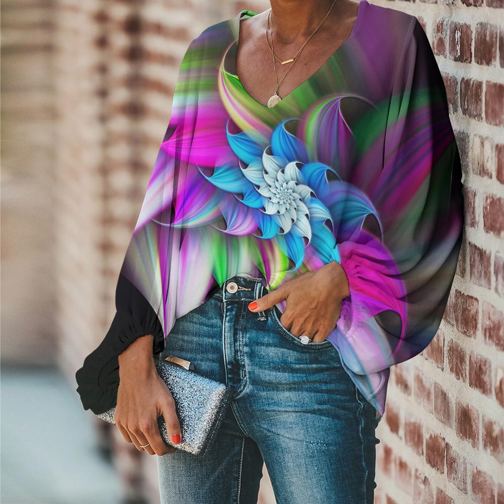 FORUDESIGNS Chiffon Ladies Blouse Casual 3D Art Flower Printing Women Spring Brand Clothes for 2020 Long Sleeve Blouses Shirts