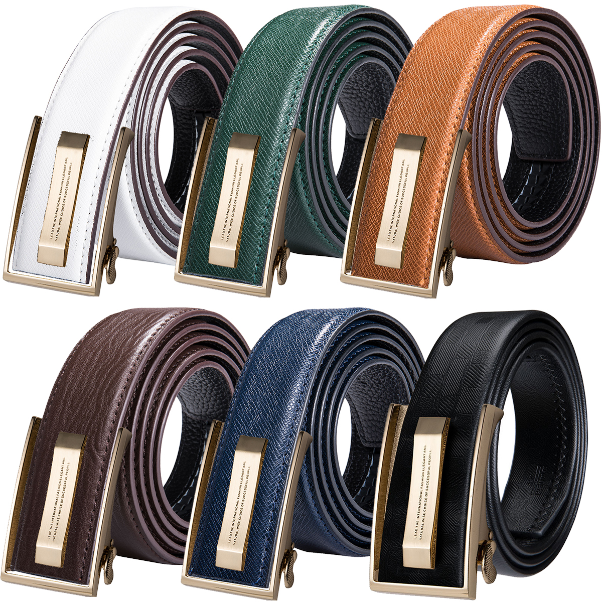 Hi-Tie Brown Belt Jeans Cowboy Blue Yellow Green Men's for New Fashion Genuine-Leather