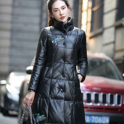 New 2020 Luxury Brand Genuine Leather Women Coat Long Stand Collar Duck Down Jacket Female Windbreaker Plus Size LX1137