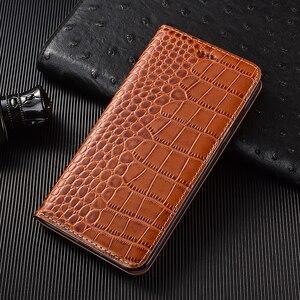 Image 2 - Crocodile Echtes Flip Leder Fall Für Xiaomi Redmi Hinweis 2 3 4 4X5 5A 6 6A 7 8 8T 7A K20 K30 Pro Plus Handy Abdeckung Brieftasche