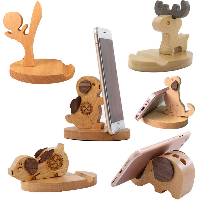 Creative Wood Elephant Dog Style Mobile Phone Holder Stand Case Pen Pencil Container Office Home Decoration Equipment