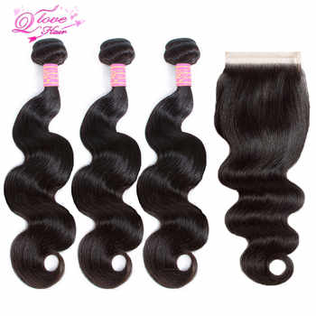 Queen Love Hair Brazilian Body Wave Bundles With Closure Non Remy Human Hair Bundles With Lace Closure Natural Color Extension - DISCOUNT ITEM  62% OFF All Category