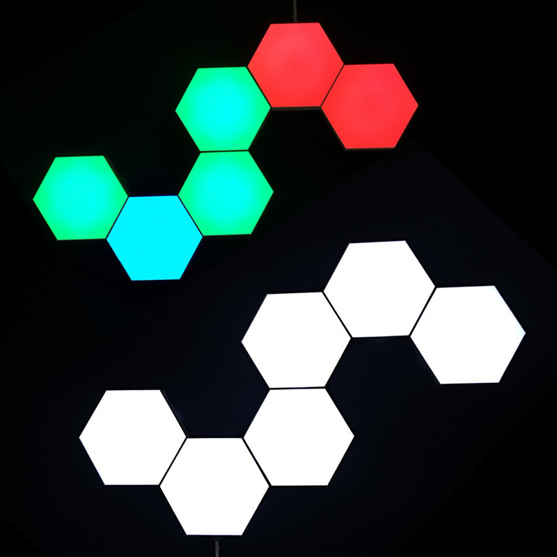 Wall Lamp Hexagonal W.KING Splicing LED Smart Light Modular Touch Sensitive Lights Honeycomb Decorative,6pcs Rgb Panels A Bright Smart Mood Lighting with Remote Control for Inside