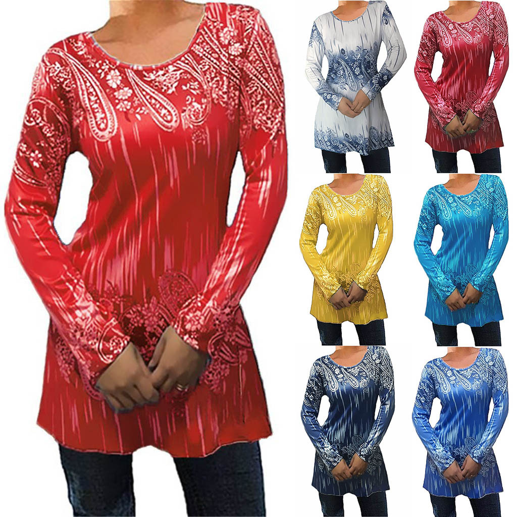 Autumn New Women Fashion Large Size Print Round Neck Long Sleeve Shirt Blouse Wholesale Free Ship рубашка женская Z4