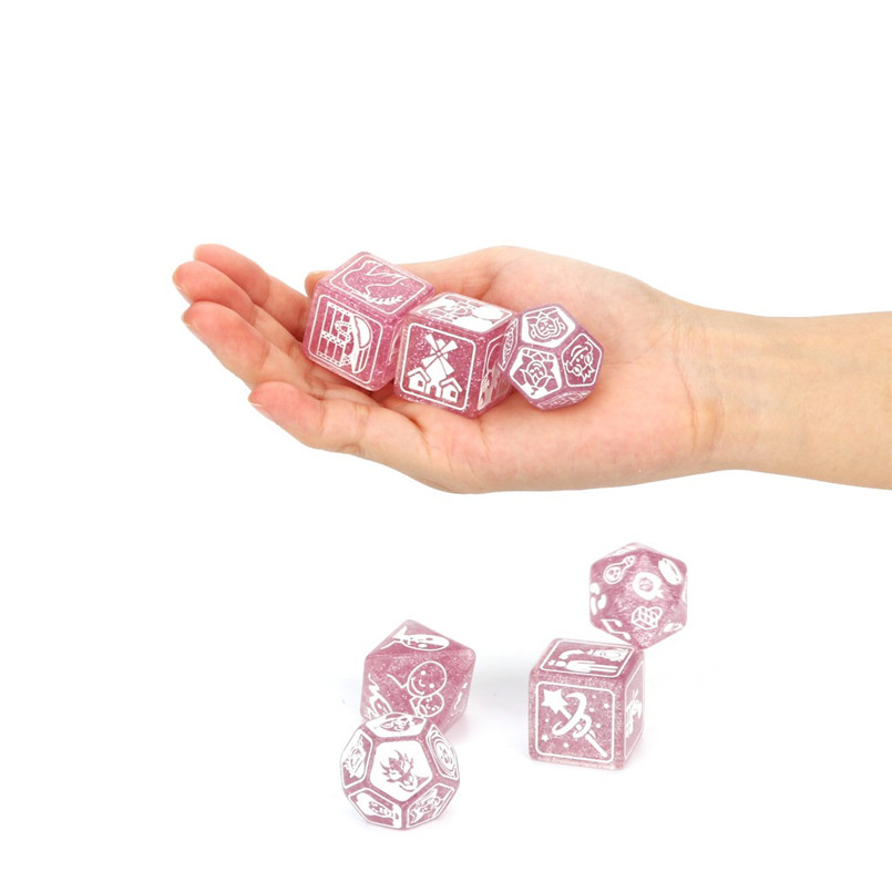 7Pcs party story poly dice time dice polyhedron multi-faceted acrylic dice set dnd new dados poliedricos  dadi da gioco 30A20 (7)