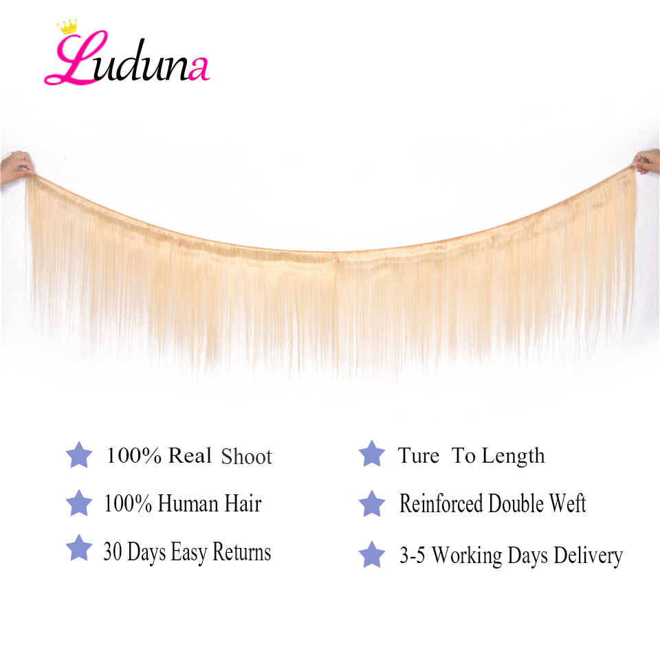 Luduna Blonde 613 Bundles With Frontal 4Pcs/Lot Brazilian Straight Human Hair Bundles With Closure 13*4 Remy Hair Extensions