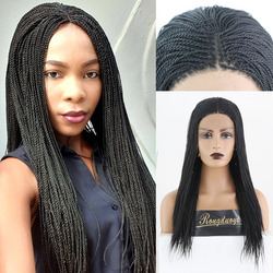 RONGDUOYI, черный, высокая температура, 500 шт., парик для косплея, синтетические кружевные передние парики для женщин, микро 2x, плетеные кружевные ...