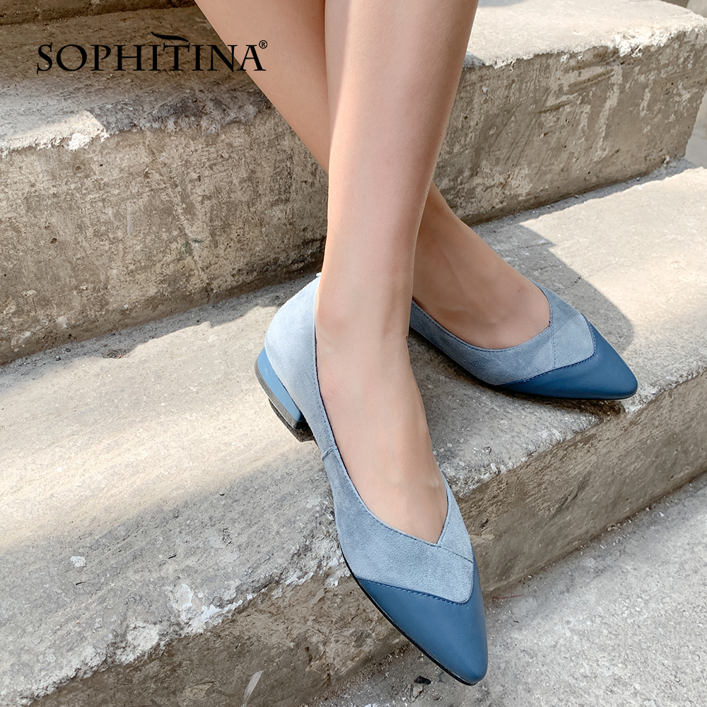 SOPHITINA Comfortable Lady Pumps High Quality Genuine Leather Mixed Colors Elegant New Shoes Pointed Toe Shallow Pumps PO404