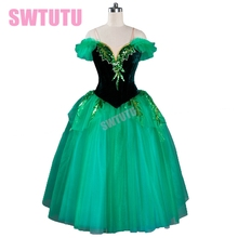 velvet green Romantic Ballet Tutu dress,adult long tutu,professional ballet tutu dress,tutu dress for saleBT9070