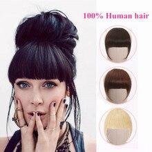 Человеческие волосы, тупые челки, на заколках, перуанские человеческие волосы для наращивания, не Реми, на заколках, с бахромой, челка, 613 блонд, аккуратная челка