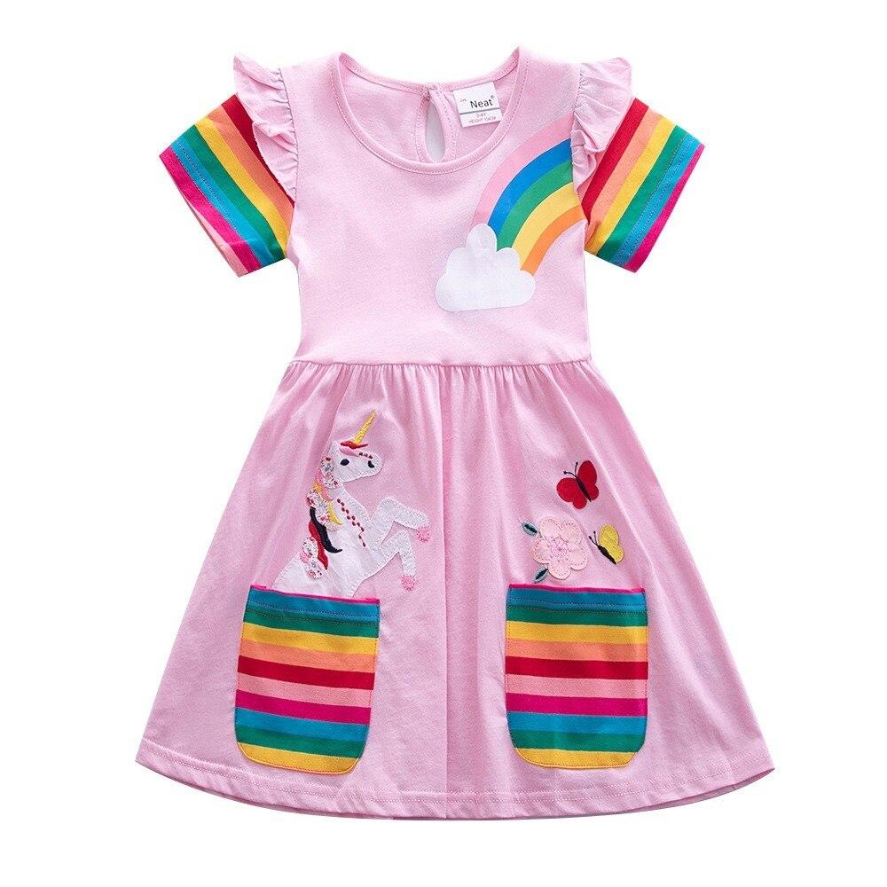 Платье для маленьких девочек; Радужное Хлопковое платье «Единорог» с вышивкой с коротким рукавом летняя одежда Детские От 2 до 7 лет, красный...