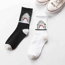 Autumn And Winter New Style Harajuku Hong Kong Style Cartoon Shark Boots Socks Men And Women Couples Street Skateboard Long So(China)