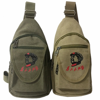 Chinese Traditonal men one shoulder messenger tool bag Serving the people canvas single nostalgic army Bag
