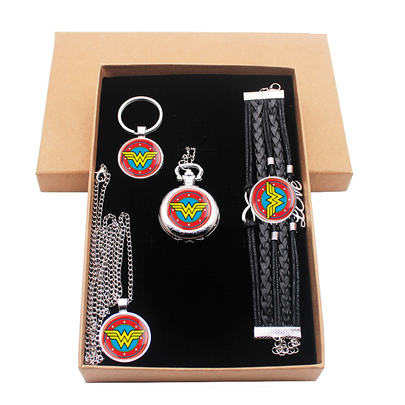 Wonder Woman Jewelry Gift Set Have Pocket Watch And Pendant Necklace And Keychain Bracelet With Gift Box