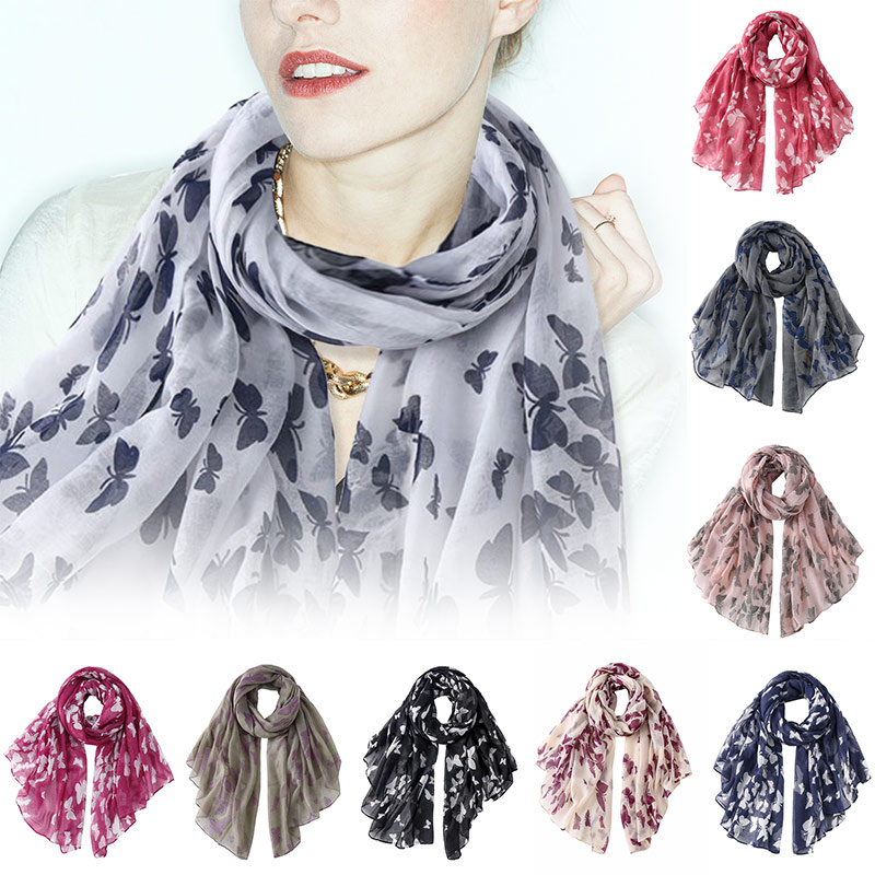 Fashion Long Printed Butterfly Scarf Lightweight Neck Scarves Shawl Wrap For Women Spring Fall FO Sale