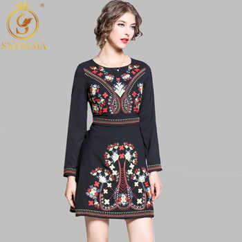SMTHMA HIGH QUALITY Newest Fashion Spring Runway Designer Dress Women\'s Luxury Embroidery Dress