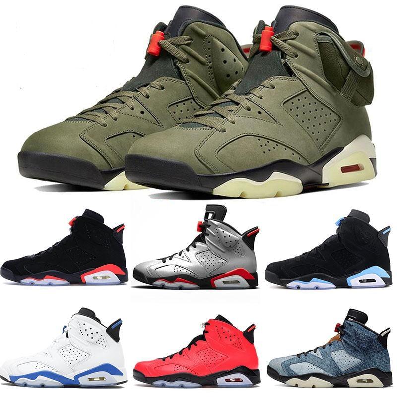 High Quality Basketball Shoes Men Retro 6 Medium Olive Sports Shoes  Men Denim Tinker  Oregon Mens Outdoor Sports Sneaker 7-13