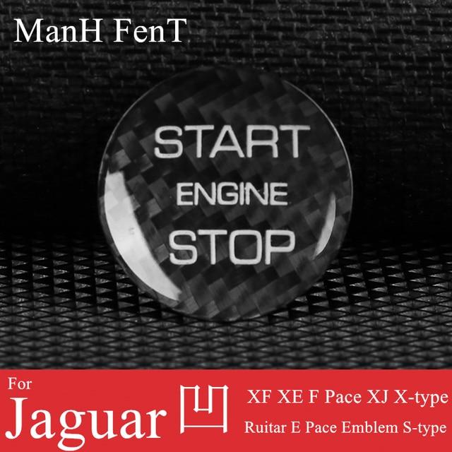 ManH FenT Real Carbon Fiber Car Engine Start Stop Button Cover Sticker For Jaguar XF XE F Pace XJ X-type Ruitar E Pace Emblem 2