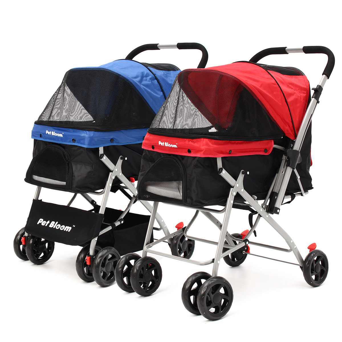 4-wheels-foldable-pet-travel-stroller-walk-pushchair-puppy-cat-cage-dog-carrier-collapsible-cart-outbound-supplies-2-colors