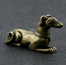 Chinois pur laiton sculpté zodiaque Animal chien thé Animal main Collection maison ornements animaux Statue