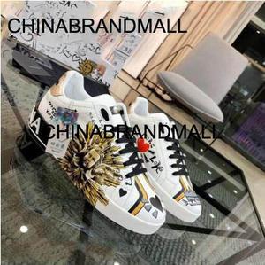 Men's Shoes Graffiti Replicate Top-Version New Imported The of Rivets Create Diamonds