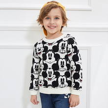 Disney Children's Wear Baby Double Warm Knitted Shirt Boys Plush and Thicken Round Neck Sweater Toddler Sweater Boys Sweaters black round neck plush knitted details sweater