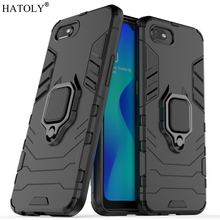 For OPPO Realme C2 Case Cover Finger Ring Phone Back Shell Hard PC TPU Armor
