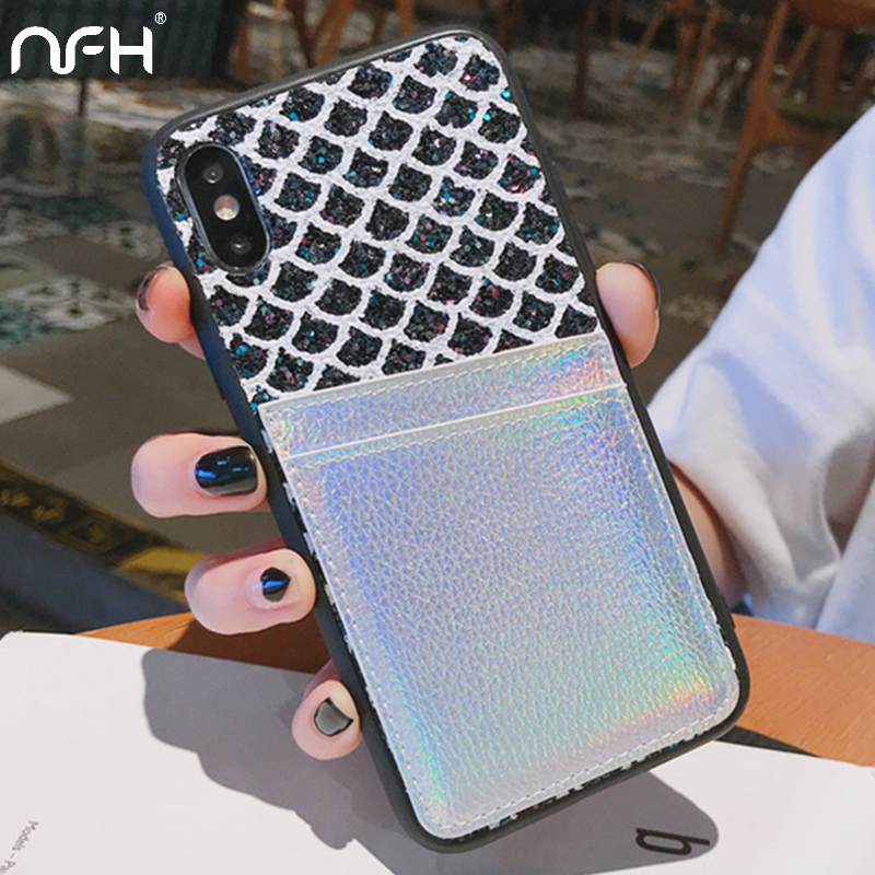 Luxury Bling Glitter Case For iPhone 11 Pro 11Pro Max 6 6S 7 8 Plus Soft Bumper Protection Case on the XR XS Max Card Slot Cover